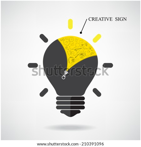 Creative light bulb Idea concept with doodle hand drawn sign. Can be used for workflow, layout, banner. Vector illustration  - stock vector