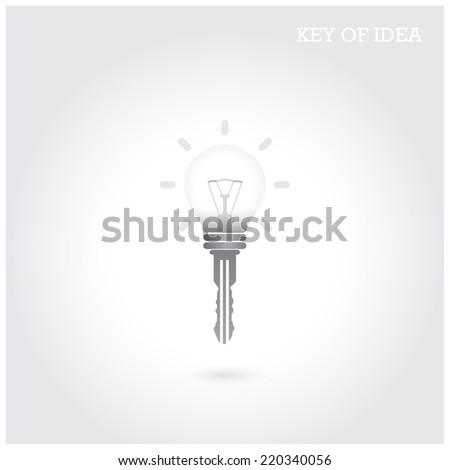 Creative light bulb idea concept with padlock symbol. Key of idea. Business ideas.Vector illustration. - stock vector