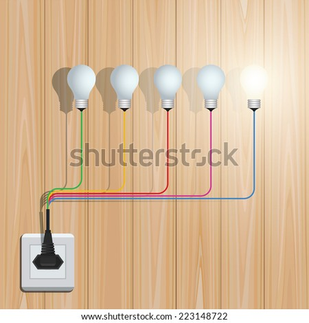 Creative light bulb on wooden background. Vector conceptual idea template background. - stock vector