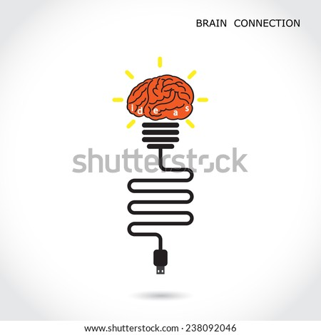 Creative light bulb symbol and brain connection sign. Business and education concept. Vector illustration - stock vector
