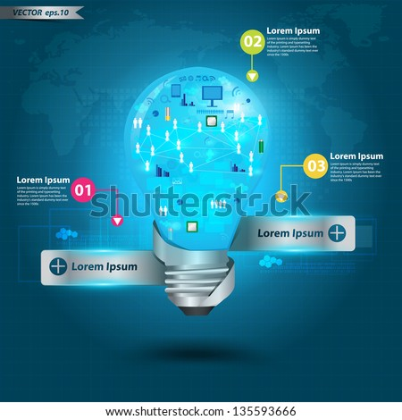 Creative light bulb technology business, With networking process diagram concept idea, Vector illustration Modern template Design - stock vector