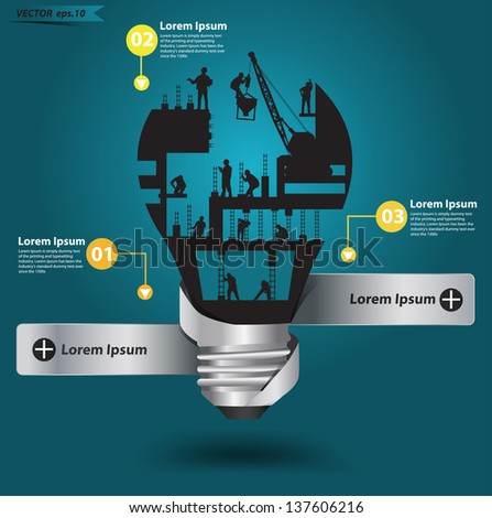 Creative light bulb with construction worker idea, Vector illustration modern template design - stock vector