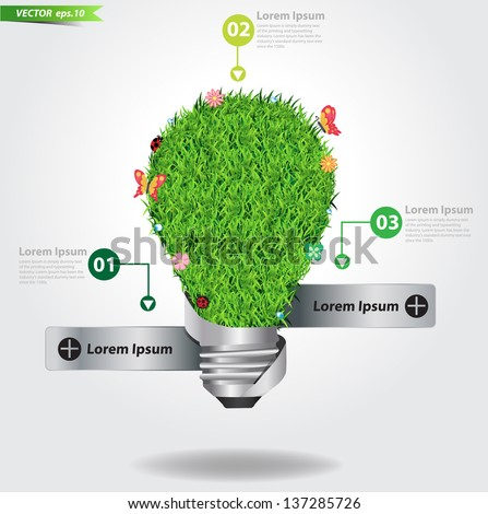 Creative light bulb with green grass ecological concept, Vector illustration template design - stock vector