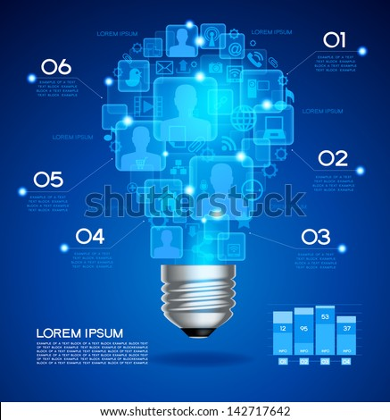 Creative light bulb with technology business Network process, The file is saved in the version AI10 EPS. This image contains transparency. - stock vector