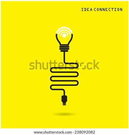 Creative light bulb with wifi connection icons for business or commercial use. Vector illustration - stock vector