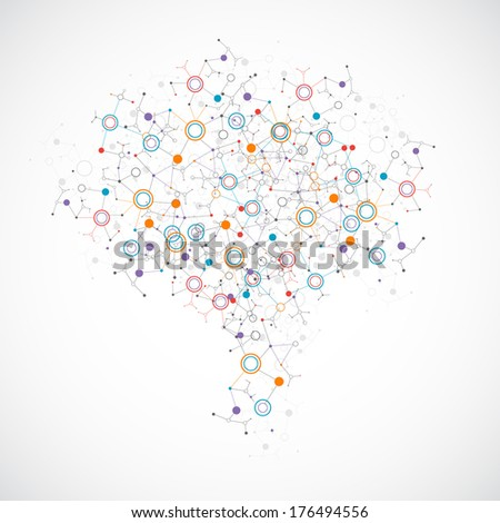 Creative light concept of the human brain with color circle - stock vector