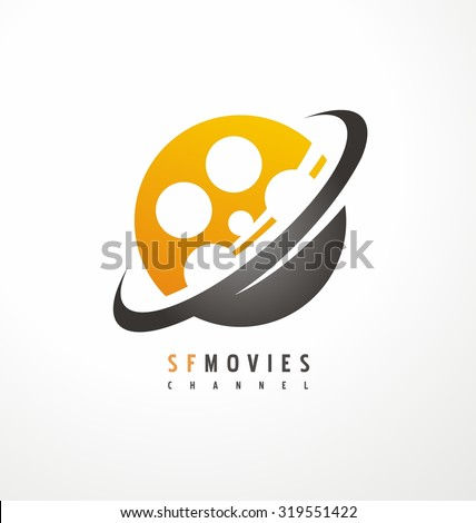 Creative logo design for movie and television industry. Unique symbol template with planet and film roll. Corporate icon layout. - stock vector
