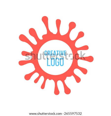 creative logo in red ink stain. concept of painting artwork, company mark, inkblot, droplet, creativity print, splodge. isolated on white background. flat style modern brand design vector illustration - stock vector