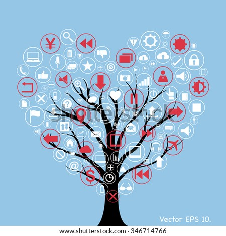 Creative Love Heart with Creative business icons, technology icons and strategy planning web icons Idea on the tree, Vector Illustration EPS 10. - stock vector