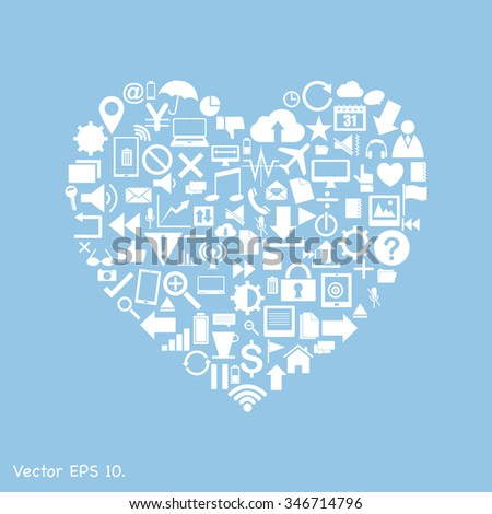 Creative Love Heart with Creative business icons, technology icons and strategy planning web icons Idea, Vector Illustration EPS 10.