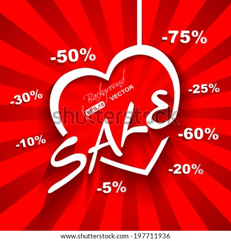 Creative Love  Sale poster with discount sale percent on red background - stock vector