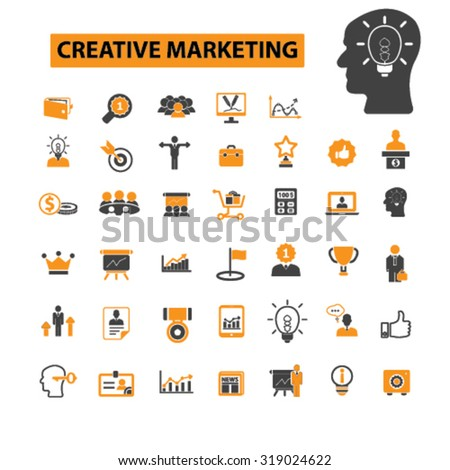 creative marketing, management icons - stock vector