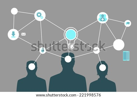Creative Mind Map Team Illustration with bulb, gears and idea - stock vector