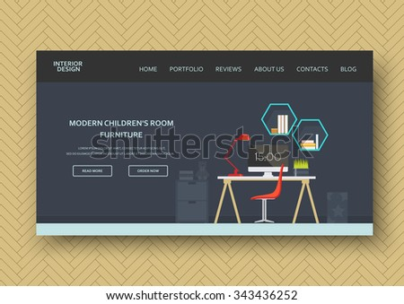 Creative Modern Children Teenager Room Interior Stock Vector