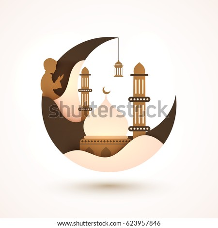 Creative Moon with Mosque and Praying Boy for Muslim Community Festival, Ramadan Kareem celebration.