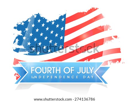 Creative national flag on white background for 4th of July, American Independence Day celebration. - stock vector