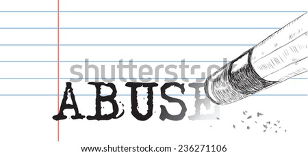Creative on a theme abuse, a pencil eraser and word abuse. Vector illustration. - stock vector