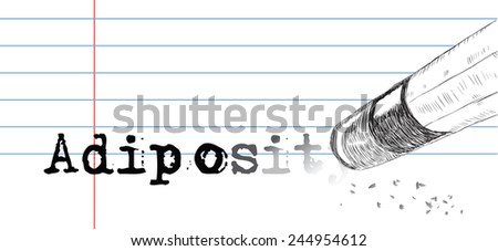 Creative on a theme of adiposity, a pencil eraser and word adiposity. Vector illustration. - stock vector
