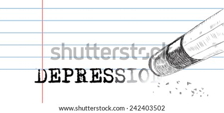 Creative on a theme of depression. A pencil eraser and word depression. Vector illustration. - stock vector