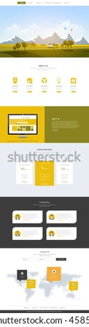 Creative One Page Website Design Template with Countryside Landscape Vector Illustration. Simple Business Layout