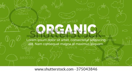 Creative organic text on green background with star and speech bubble and other objects. Vector Illustration Modern Banner for Design and Creative Work