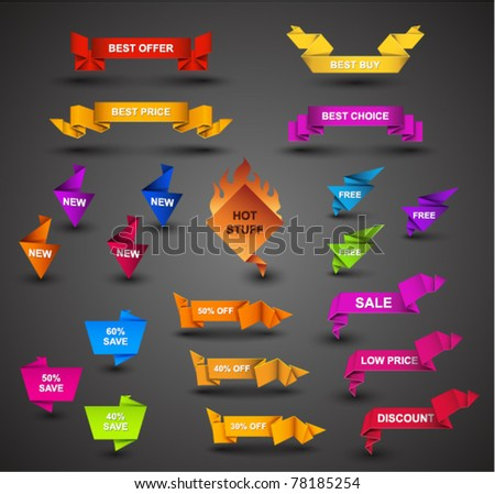 Creative Origami Web Collection - stock vector