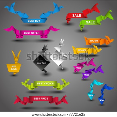 Creative Origami Web Collection. Vector Illustration. - stock vector