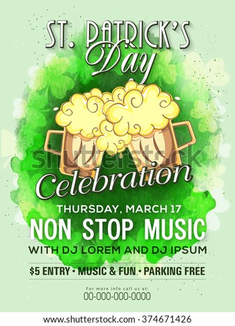 Creative Pamphlet, Banner or Flyer design for St. Patrick's Day Musical Party celebration. - stock vector
