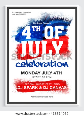 Creative Pamphlet, Banner or Flyer design for 4th of July, American Independence Day Party celebration. - stock vector