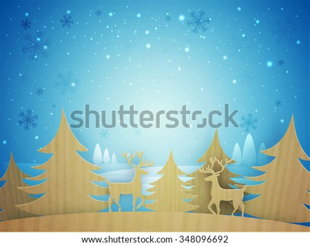 Creative paper cut out of Xmas Trees and reindeers on beautiful snowflakes decorated background for Merry Christmas celebration. - stock vector