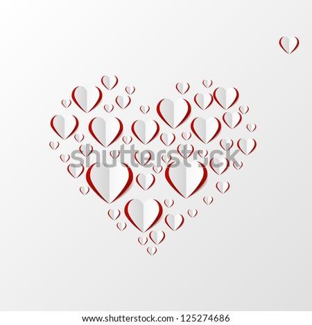 Creative paper heart - stock vector