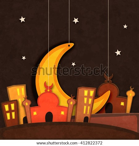 Creative paper Mosque with Big Crescent Moon hanging on stars decorated grungy brown background for Islamic Holy Month of Prayers, Ramadan Kareem celebration. - stock vector