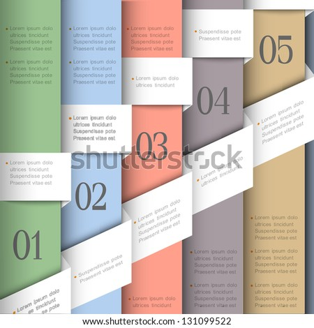 Creative paper numbered banners. Vector template