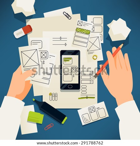 Creative paper user interface prototyping vector concept design | Application making process with professional working on software interface usability and ergonomic design - stock vector