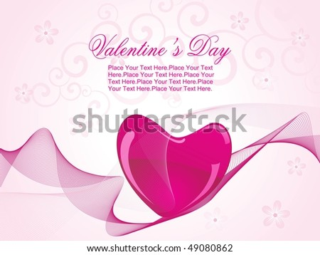 creative pattern background with magenta heart, wave - stock vector