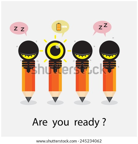 Creative pencil and light bulb design with difference concept. Flat design style modern concept. Vector illustration  - stock vector