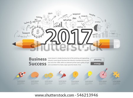 Creative pencil design on drawing charts graphs business success strategy plan ideas concept, New year 2017 calendar cover, typographic inspiration, Vector illustration modern layout template design