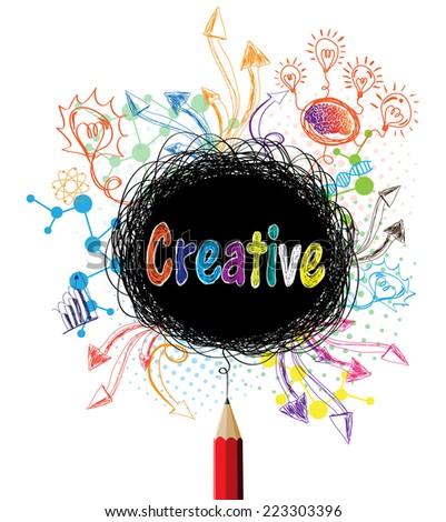 Creative pencil designs colorful concept illustration - stock vector