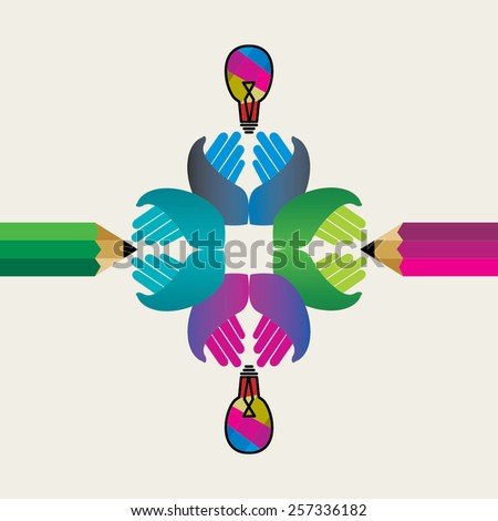 creative pencil hands business concept vector - stock vector
