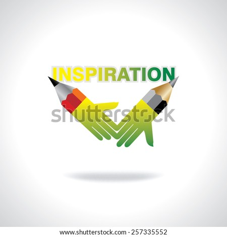 creative pencil hands inspiration concept vector - stock vector