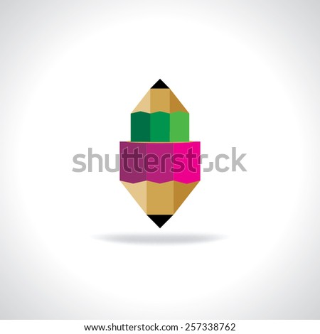 creative pencil red and green education concept  - stock vector
