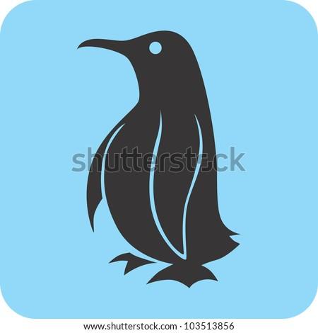 Creative Penguin Icon - stock vector