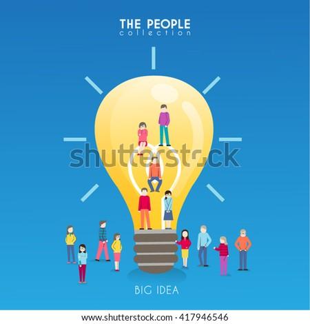 Creative People with Light Bulb Conceptual Vector Design - stock vector
