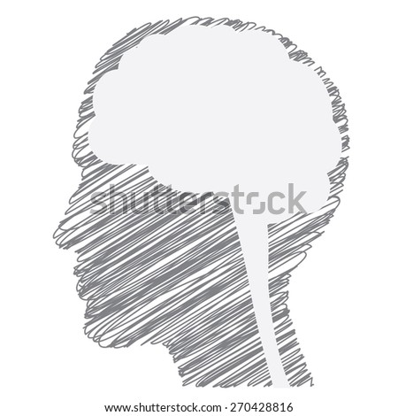 Creative person abstract concept with scribbled face silhouette and brain. Vector illustration isolated on white. - stock vector