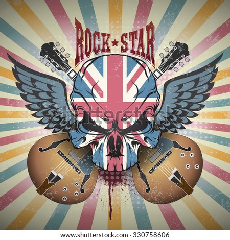 Creative picture of a skull. Rock star - stock vector
