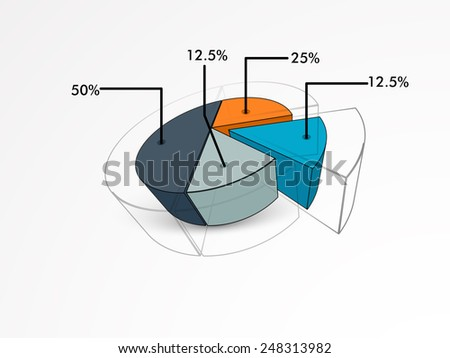 Creative pie chart infographics in 3D with statistics for business presentation on grey background. - stock vector