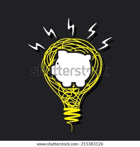 creative piggy bank in sketch bulb design concept vector - stock vector