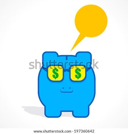 creative piggy bank with with dollar symbol in eye design concept vector - stock vector