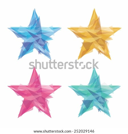 Creative polygon stars - stock vector