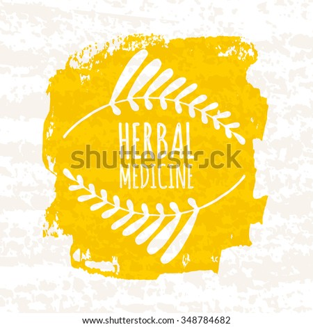 Creative poster colorful for the logos of the stores that sell medical herbs and herbal preparations and supplements isolated on white background with old paper texture. Vector illustration - stock vector